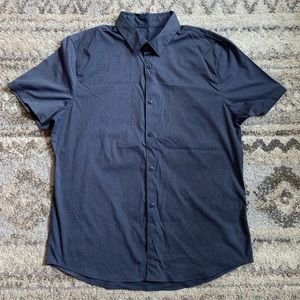 Lululemon Blue Striped SS Button Down XL
